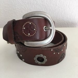 Fossil brown silver floral genuine leather belt